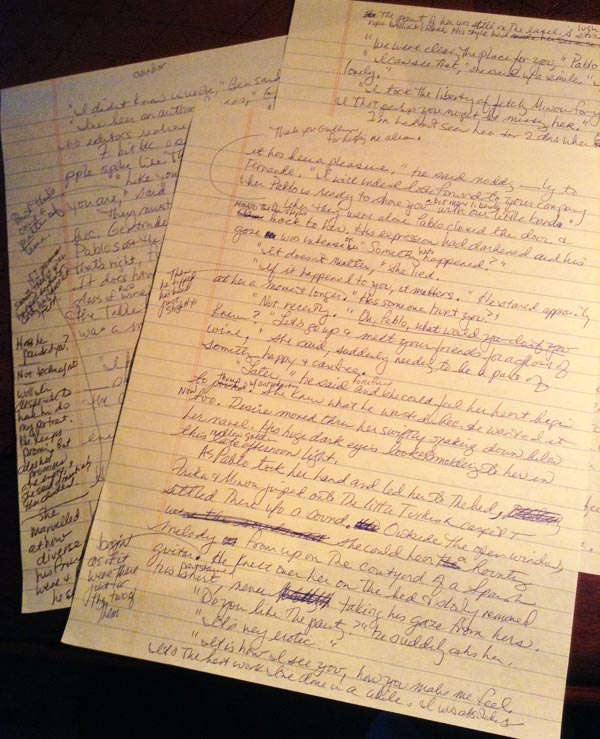 Handwritten first draft pages